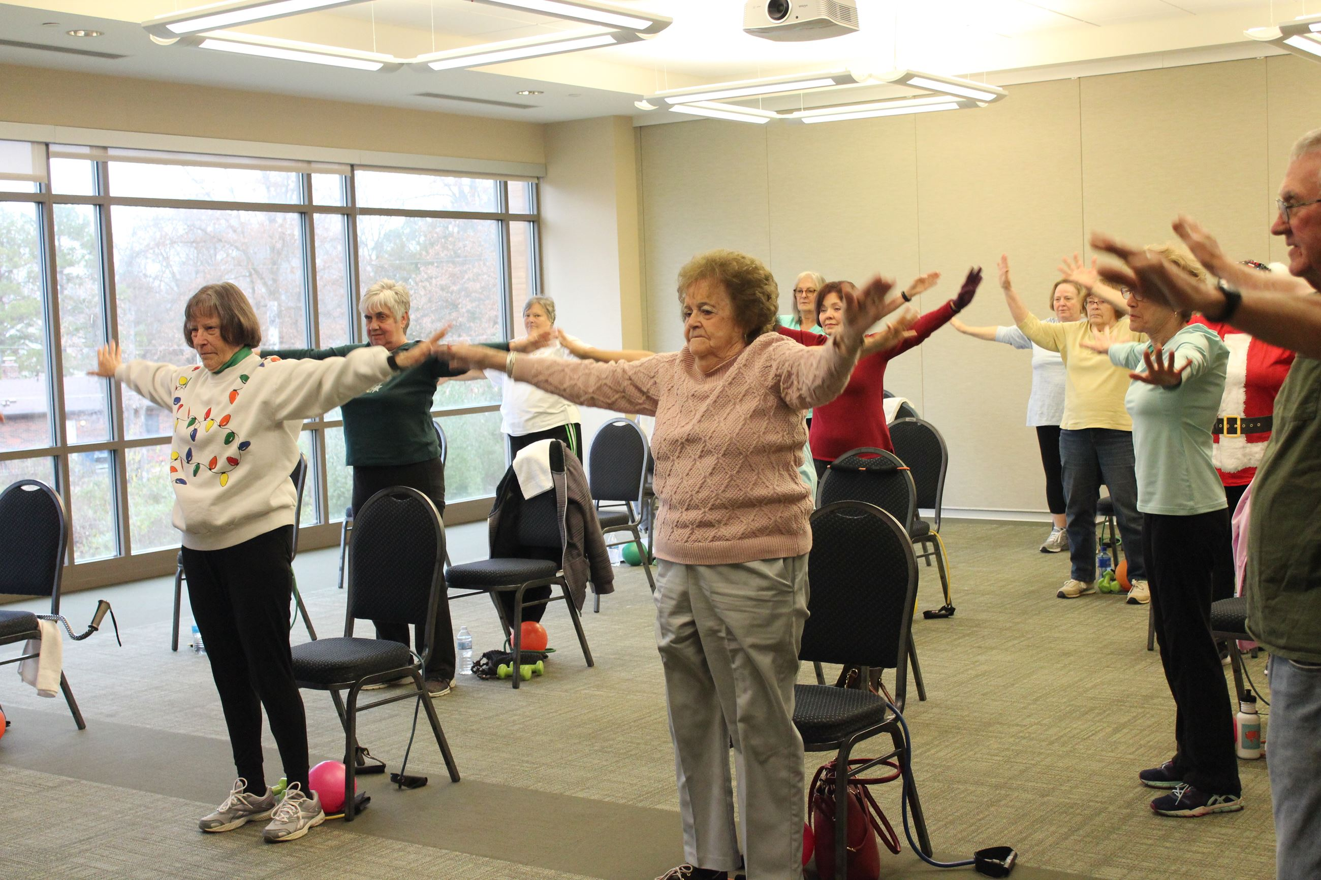 Senior citizens exercising
