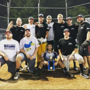 Adult Softball Group Photo with a Trophy